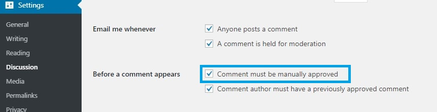 wp discussion setting