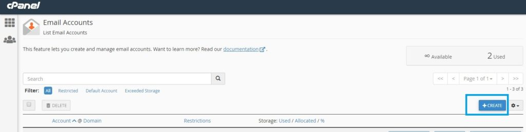 creating email account in cpanel