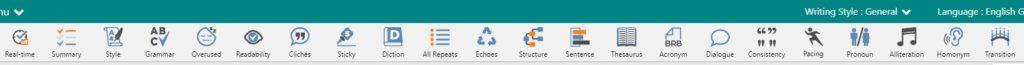 Toolbar On ProWritingAid Dashboard