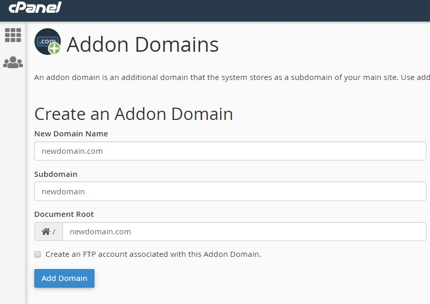 adding an addon domain in cpanel