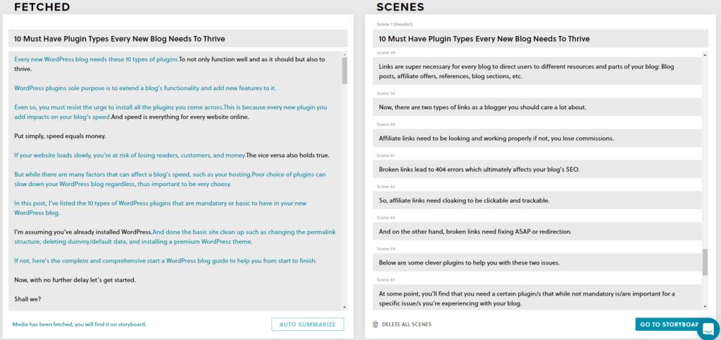 InVideo Auto-summarize feature