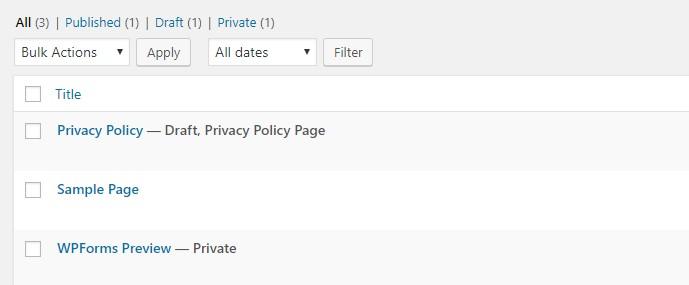 WordPress Dummy Pages