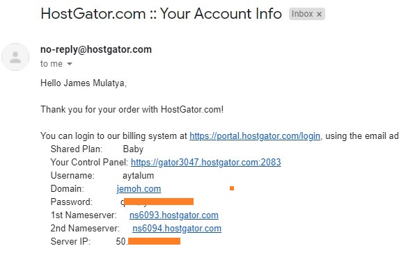 HostGator Nameservers In Welcome Email