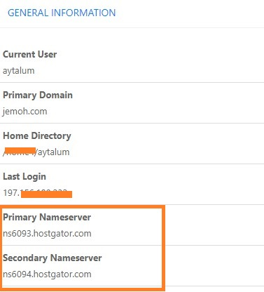 HostGator Nameservers In cPanel Dashboard
