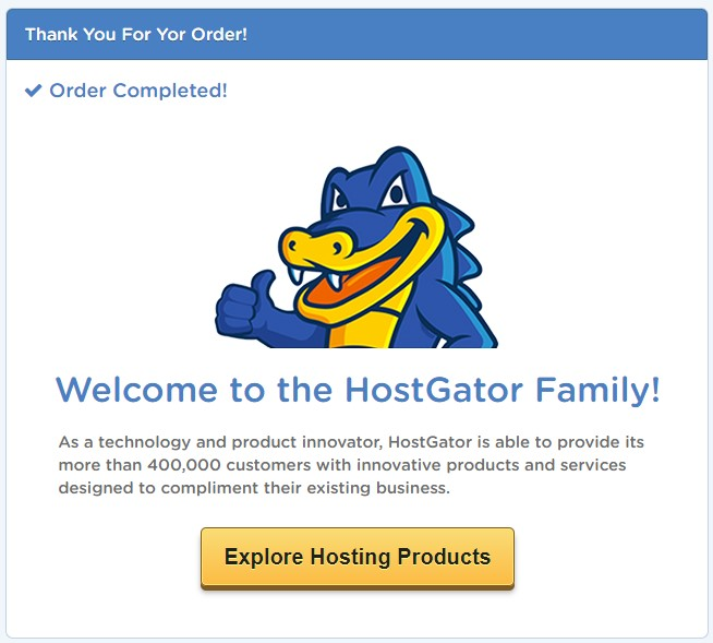 Hostgator Thank You For Your Order