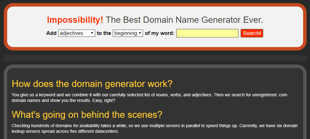 Blog Name Generator Impossibility Homepage