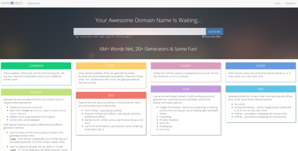 NameMesh Homepage Best Blog Name Generator