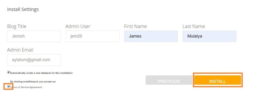 WordPress Install Process Admin Details