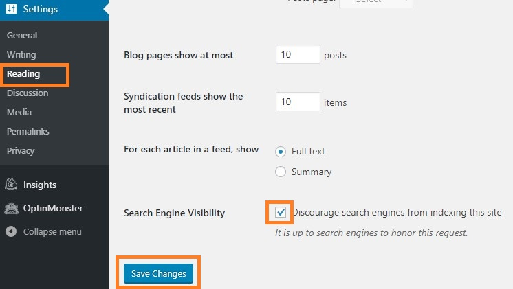 WordPress Dashboard Settings Reading