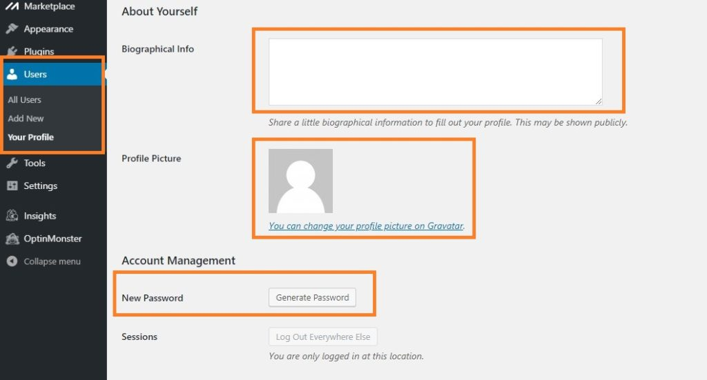 WordPress User Details