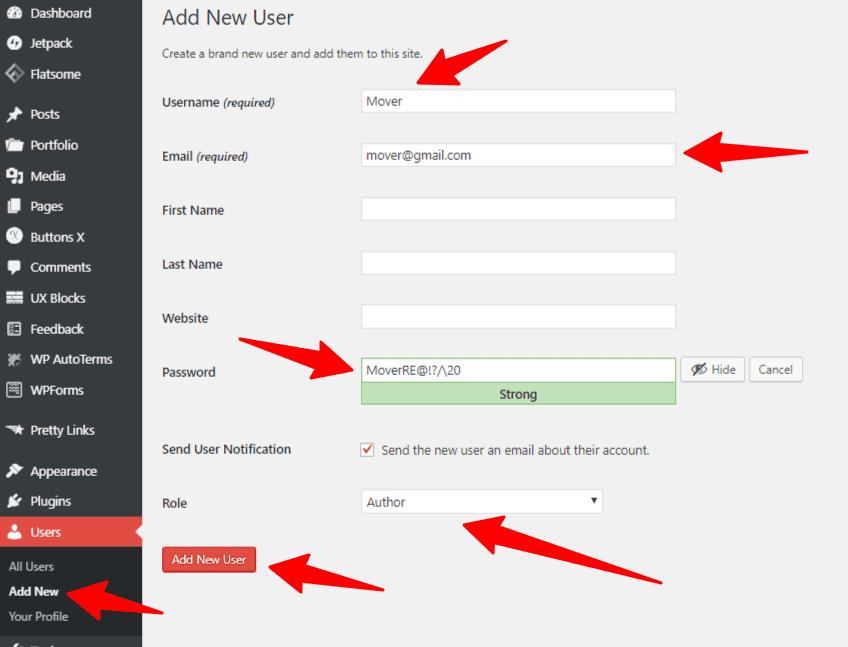 Add New WordPress User