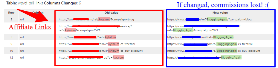 Search and Replace Table changes