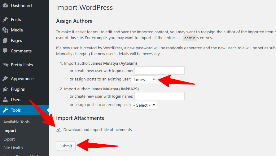 WordPress Import Assign Authors