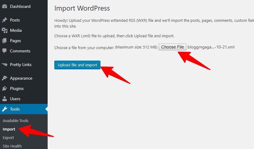 WordPress Import XML