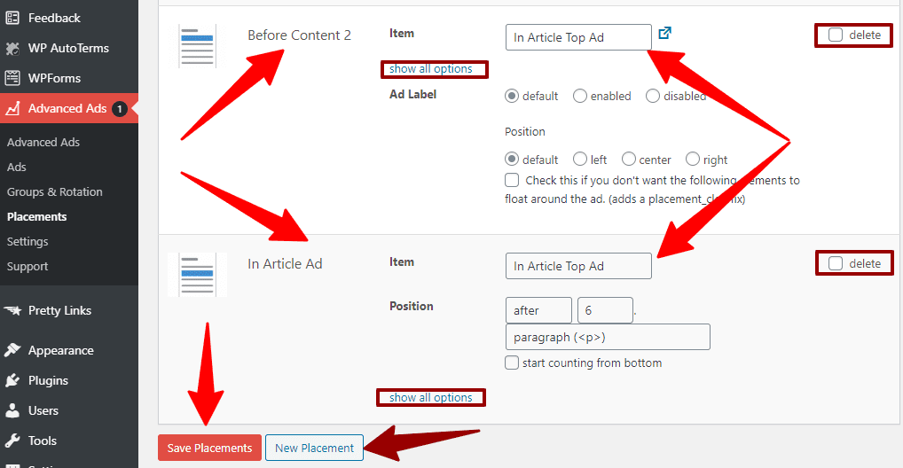 Ad placement customization options