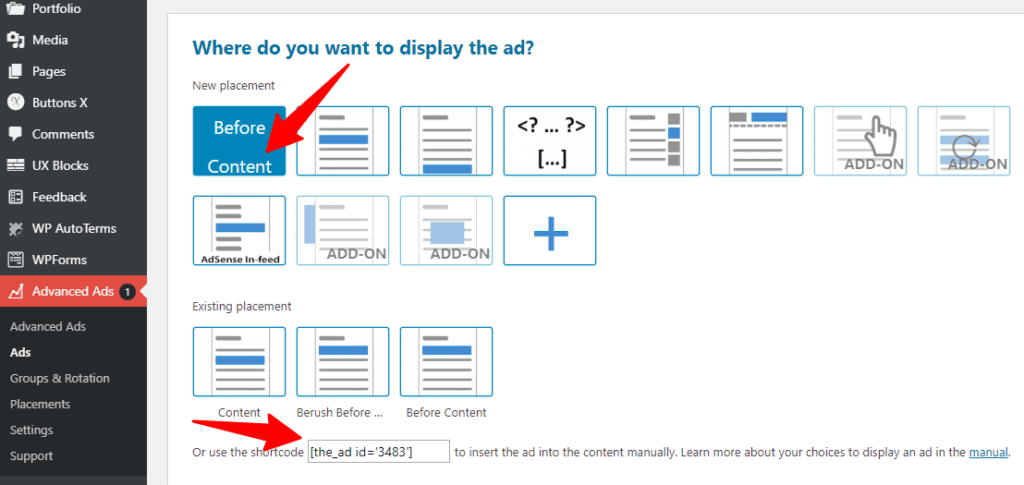 Advanced Ads Ad placement options