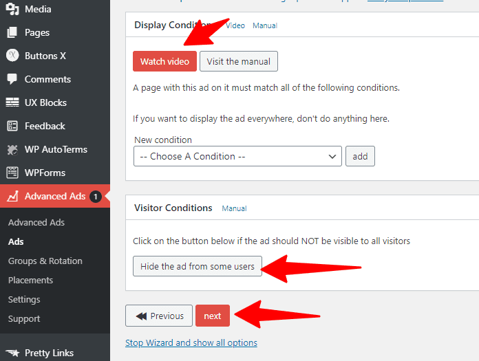 Advanced Ads adding display conditions for ad