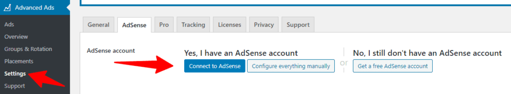 Connect Advanced Ads with AdSense