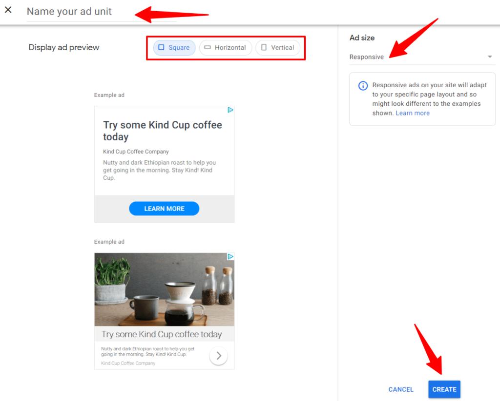 Google AdSense Create Responsive Ad Step 2